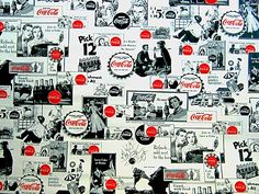Coca Cola Vintage Wallpaper by BmoreUnique on Etsy Coca Cola Wallpaper, Always Coca Cola, World Of Coca Cola, Coke, Black And White, Etsy, Vintage, Affair, Pepper