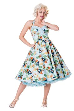 0c15762b74f Hell Bunny Tropical Dress incl Plus Size up to 4XL Blue Retro Vintage  Rockabilly Vintage Hawaii