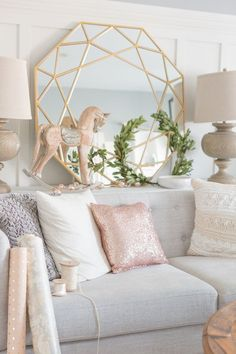 Blush and Copper Christmas Tree (Craftberry Bush) Blush Living Room, My Living Room, Copper Living Room Decor, Copper Room, Copper Decor, Rose Gold Rooms, Blush And Gold Bedroom, Pastel Bedroom, Christmas Living Rooms