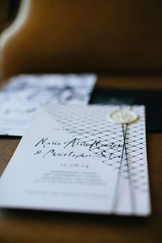Intimate, Romantic Los Angeles Wedding, DIY Black and White Invitation Suite with Netting and Wax Seal | Brides.com