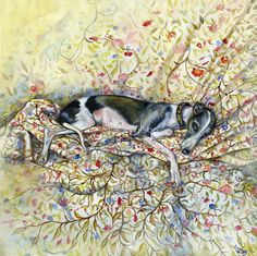 A Little Wallflower by Elle J Wilson. Whippet painted in oils