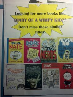 Diary of a Wimpy Kid Read Alikes display signage for Alpena County Library, Alpena MI