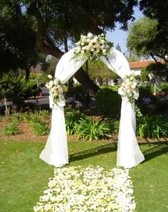 30 floral wedding arch decoration ideas event design pinterest garden arch with white draping and flowers love this add a small hanging chandelier junglespirit Images