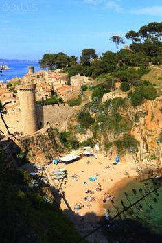 Codolar beach on the other side of the bay  Tossa Girona  Catalonia