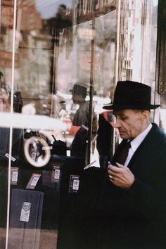 Saul Leiter, Pigment Print, Man and Mirror, 8.5x11 inches