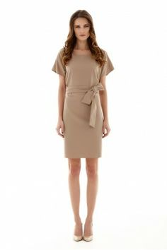 BEIGE CLASSY CREP OBLONG DRESS