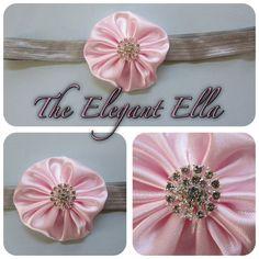 PINK Purple Ivory or Brown Satin flower headband by TheElegantElla, $8.50