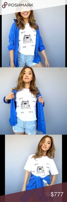 COMING SOON! Shy T-shirt Adorable, highly coveted shirt, as seen on Jenn Im of Clothesencounters. Coming soon! Let me know if you want to be tagged when it arrives  I'll only have one Small, one Medium and one Large! Tops Tees - Short Sleeve