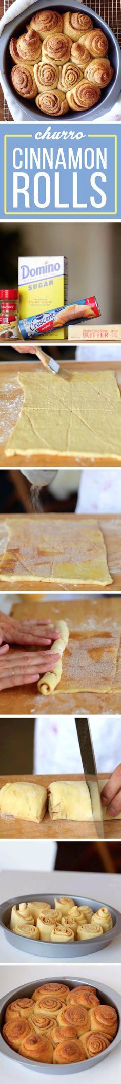 These 4-Ingredient Cinnamon Rolls Taste Exactly Like Churros Allez voir le site plusieurs recettes facile a faire et surement délicieuses