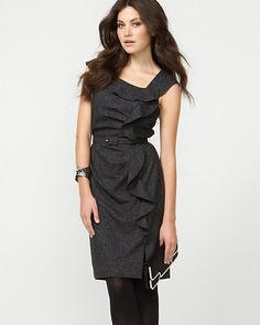 1 Tweed Ruffle Belted Shift Dress