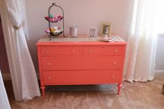 beautiful color for a dresser (Behrs Youthful Coral)