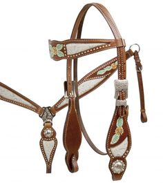Silver Filigree and Floral Painted Headstall and Breast Collar Set.-Silver Filigree and Floral Painted Headstall and Breast Collar Set.