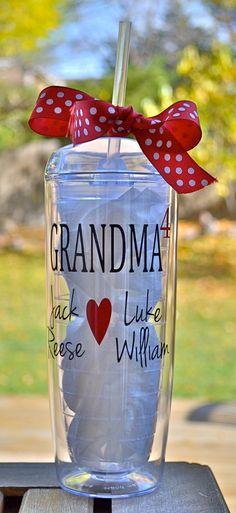 Personalized Grandma cup!  20 oz.  Orbit tumbler~ Nana Grandma Tumbler Personalized with Grandkids names! by ShopFourArrows on Etsy https://www.etsy.com/listing/210140326/personalized-grandma-cup-20-oz-orbit