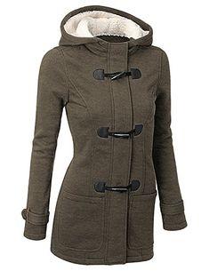 BYD Femmes Manteaux à Capuche Bouton Corne Blouson Veste Jacket Manches  Longues Chaud Épais Hoodie Hoody Outwear Automne Hiver Slim FitVertX-Large 4a74243cc088