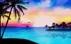 tropical beach paradise sunset - Google Search
