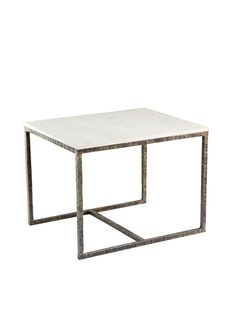 Interlude Home Pax Bamboo Side table - Together, marble and iron exude a cool tranquility. Pair this piece with modern silhouettes and organic materials, like wood, leather, and seashell.