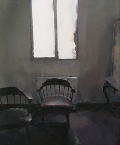 Two chairs - Oil on wood 38 x 46 cm. Private collection.
