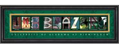 The pictures spell UAB Blazers. How cool is that? @UAB Athletics @uabalumni