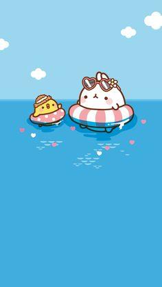 Cute Pastel Wallpaper, Cute Anime Wallpaper, Cute Cartoon Wallpapers, Cute Kawaii Drawings, Kawaii Doodles, Kawaii Art, Molang, Dibujos Cute, Character Wallpaper