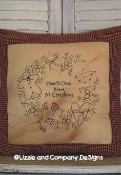 HeaRTs CoMe HoMe At CHRiSTMaSSTiTCHerY by LizzieAndCoPatterns, $6.00