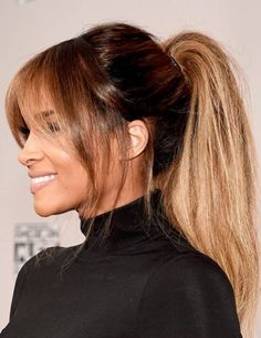 Awards shows are some of our favorite events to cover as we get to see all the A-listers turned out in the freshest fashion and beauty looks. The red carpet at last night's 2016 American Music Awards didn't disappoint. As if the ponytail weren't… Celebrity Hairstyles, Hairstyles With Bangs, Easy Hairstyles, Ciara Hairstyles, Latest Hairstyles, Blonde Hairstyles, Medium Hairstyles, Red Carpet Hairstyles, Lob Hairstyle