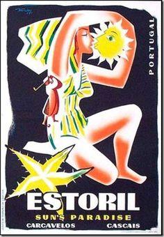 "vintage travel poster, Estoril, Portugal - ""Paradise of the Sun"" Retro Ads, Vintage Advertisements, Vintage Ads, Tourism Poster, Poster Ads, Vintage Beach Posters, Portugal Tourism, Visit Portugal, Retro Illustration"