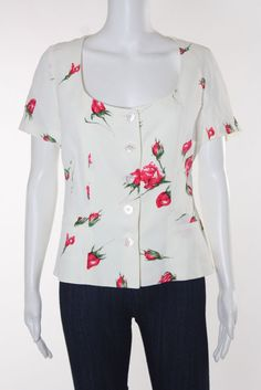 GUY LAROCHE Off White Pink Green Floral Short Sleeve Button Front Blouse Sz IT 4…
