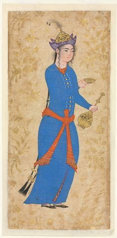 Lady in Feathered Hat bearing a Wine Cup and Ewer (recto); Illustration and Illuminated Borders from a Single Page Manuscript Arab Fashion, Fashion History, Fashion Women, Islamic Paintings, Mughal Paintings, Long Dark Hair, Cleveland Museum Of Art, Art Costume, Iranian Art