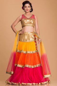 Pink, Orange and Yellow Layered Lehenga with Golden Choli