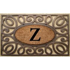 Hand-crafted Elegant Circles Rubber and Monogrammed Doormat