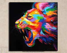 Lion painting acrylic on canvas image 0 Lion Painting, Acrylic Painting Canvas, Canvas Art, Colorful Paintings, Animal Paintings, Lion Art, Arte Pop, Painting Inspiration, Cement Tiles