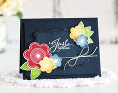 Just Because by Laurie Schmidlin. Papertrey DT Tips - Dark Backgrounds & Bright Colors Friendship Cards, Card Tutorials, Pretty Cards, Flower Cards, Creative Cards, Stampin Up Cards, Note Cards, Cardmaking, Birthday Cards