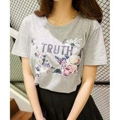 """""""Simple Round Neck Flower and Letter Print Short Sleeve T-Shirt For Women. Colors: Gray. Size: ONE SIZE(FIT SIZE XS TO… #Vivoren #Fashion"""