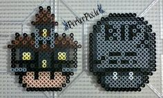 Haunted House and Tombstone Mushrooms by PerlerPixie.deviantart.com on @DeviantArt