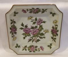"""Andrea By Sadek Asian Floral Porcelain Bisque Square 8"""" Plate or Low Bowl 8401"""