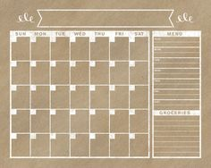 Create a beautiful generic calendar to frame. Frame it. Use dry erase marker on the glass to create the specific month/menu.