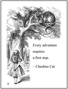 Every adventure requires a first step. ~Cheshire Cat