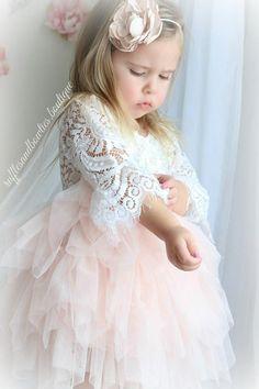 Veronica Soft White Eyelash 3/4 Sleeve Lace with a Peach Short Tutu Skirt - Princess Dress
