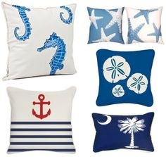 5 Super Easy Coastal Decor Ideas to Give your Room a Fresh Look : nautical via completely-coastal Nautical Pillows, Nautical Theme, Shabby Chic Campers, South Carolina Flag, Coastal Decor, Coastal Living, Beach House Decor, Beach Cottages, Bed Pillows