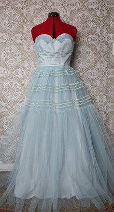 Vintage 1950's Baby Blue Tulle Prom Dress Gown by pursuingandie, $235.00