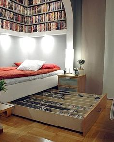 Bibliothek unterm Bett. Eine sehr tolle Idee!