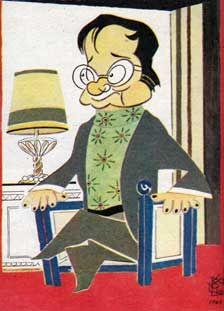 """Miguel Mihura (Madrid, 1905 – 1977). Escritor, dramaturgo, historietista y periodista español. Conoció  a periodistas del género humorístico como Tono, Edgar Neville y Enrique Jardiel Poncela. Fue uno de los fundadores de las revistas humorísticas La Ametralladora y La Codorniz. Formó parte de la """"Otra Generación del 27"""", la del humor."""