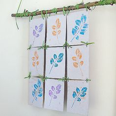Stamp Pad Leaf Printing Make A Wall Hanging! is part of Autumn crafts Wall Hangings Here& a great nature craft with beautiful results Use stamp pads to make leaf prints on recycled cereal boxes, o - Kids Crafts, Fall Crafts, Craft Kids, Leaf Prints, Wall Prints, Diy Cadeau Noel, Stamp Pad, Camping Crafts, Autumn Art