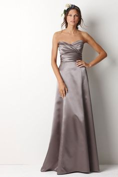 A-line Sweetheart Floor-length Satin Wedding Party / Bridesmaid Dress with Criss-cross Cute Wedding Dress, Fall Wedding Dresses, Colored Wedding Dresses, Dream Wedding, Grey Dresses, Luxe Wedding, Wedding Pins, Perfect Wedding, Wedding Colors