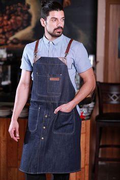 Barista, Waiter Uniform, Jean Apron, Leather Apron, Aprons For Men, Bib Apron, Apron Designs, Bartender, Blue Denim