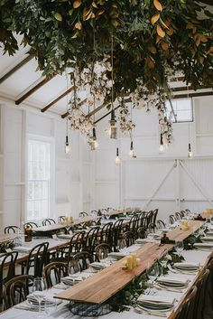 [Farm style tables, I like the chairs, I like the living ceiling floral display] 046_lianemark