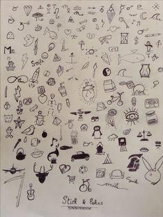 doodles, tattoos,