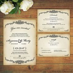 Vintage Victorian style design, high resolution Wedding Invitation, Details and RSVP card template supplied as pdf, put your own text in! http://etsy.me/2pNEQqd #vintage #victorian #wedding #invitation #rsvp #template