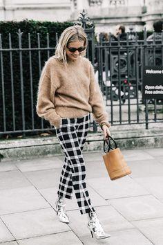 Mohair Sweater + Plaid Pants + Metallic Boots