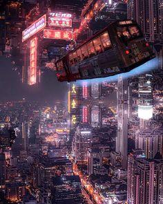 Bangkok cyberpunk reality 🌃👾 Shot by Cyberpunk City, Cyberpunk Kunst, Cyberpunk Aesthetic, City Aesthetic, Futuristic City, Futuristic Architecture, Future City, Neon City, Sci Fi Stadt